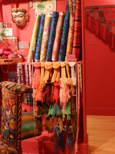 Skeins of Wool in magical colors. Textiles of cloth and tapestry