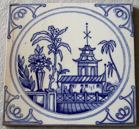 Gallery Antiques on Etsy Blue and White Tile Chinoiserie