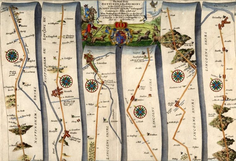 Ogilby Road Map 18thc. Hand painted at Swanborough Prints.